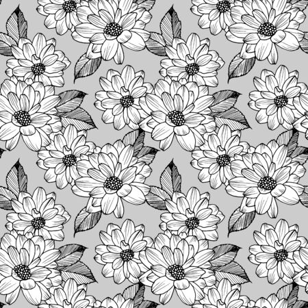 Hand drawn seamless pattern with buds flowers dahlia. Vector nature illustration