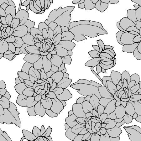 seamless pattern with flowers of dahlia in monochrome colors