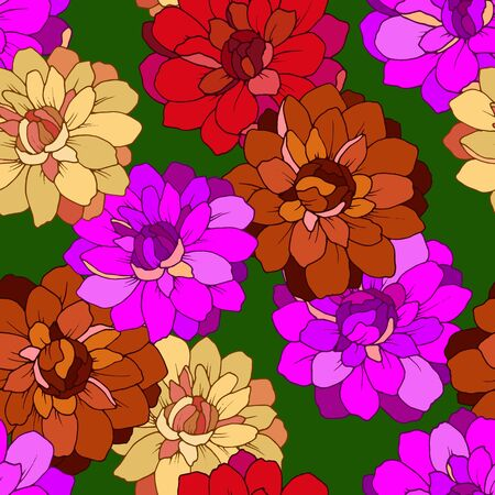 seamless pattern with flowers of dahlia in bright colors Vectores