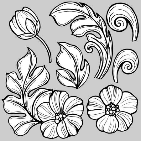 stylized flowers, curls and leaves in monochrome colors