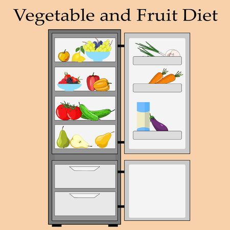outdoor refrigerator with dietary foods, vegetables and fruits Vector Illustratie