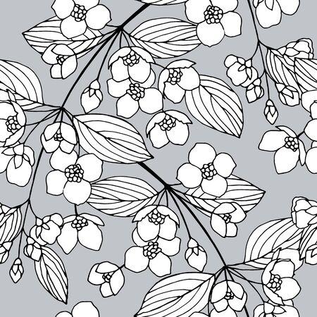 seamless pattern with jasmine flowers 向量圖像