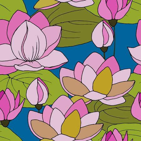 seamless pattern with flowers and lotus leaves Ilustrace