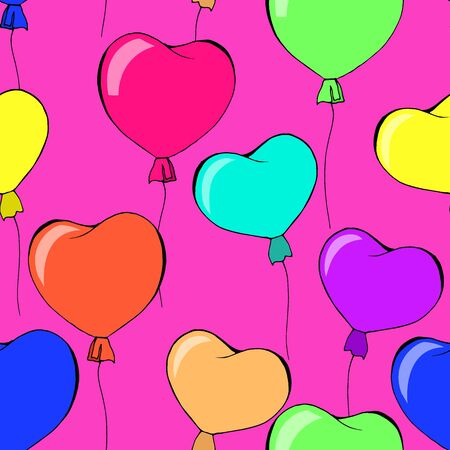 seamless pattern with balloons hearts, ornament for wallpaper and fabric, wrapping paper Illustration