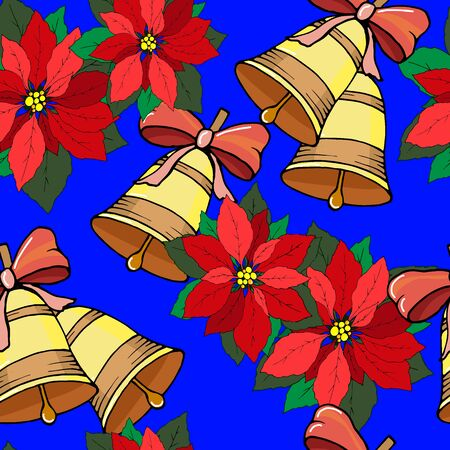seamless pattern for the new year with bells and christmas flowers, ornament for wallpaper and fabric, wrapping paper