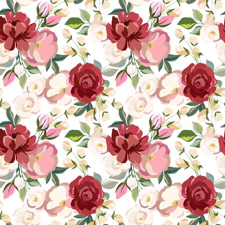 elegant seamless pattern with floral elements, leaves, ornament for wallpaper and fabric, wrapping paper, background for different designs