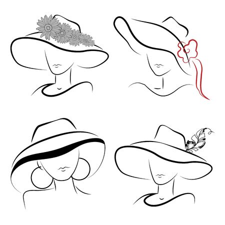 Lady's image in a hat, stylized design, vector illustration, isolate on a white background  イラスト・ベクター素材