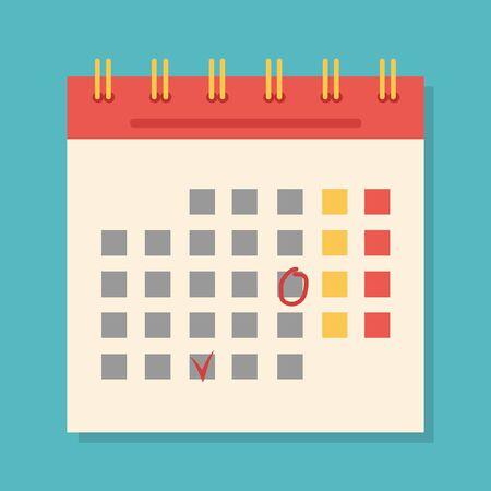 Flight Icon, Image of the Calendar, vector illustration, for different designs Vector Illustratie