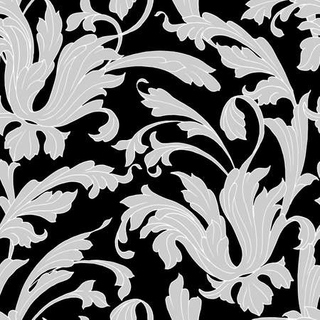 seamless pattern in monochrome colors with elements of plants and curls, baroque ornament, ornament for wallpaper and fabric, wrapping paper, background for different designs Stock Illustratie