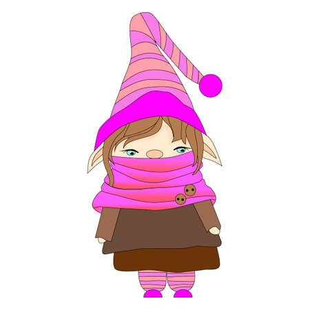 vector illustration, funny dwarf in a cap and scarf, isolated on white background, cartoon character Vettoriali