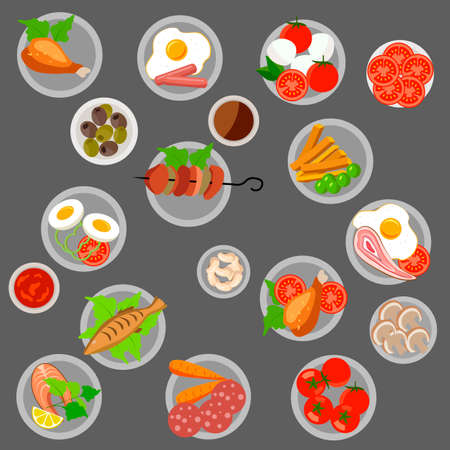 vector illustration, Ready meal on plates, tomatoes, omelettes, sausages