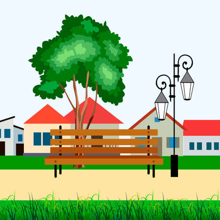 street landscape, with houses, lighting and street chair, background for different designs Illustration