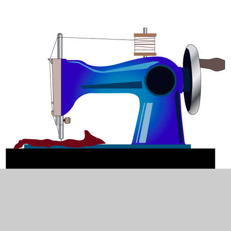 vector illustration, isolate on a white background, mechanical hand sewing machine