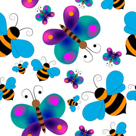seamless pattern with butterflies and bees, ornament for wallpaper and fabric, wrapping paper, background for different designs Ilustracja