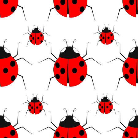 seamless pattern with red beetles, ornament for wallpaper and fabric, wrapping paper, background for different designs Ilustracja