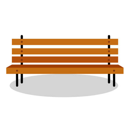 vector illustration, isolate on a white background, street chair wooden