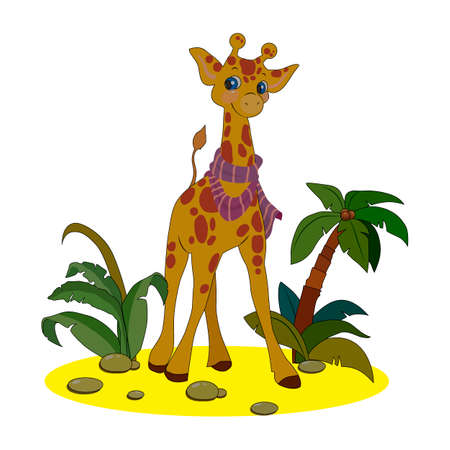 vector illustration, white background isolate, image of giraffes and tropical plants and palm trees in cartoon style in color