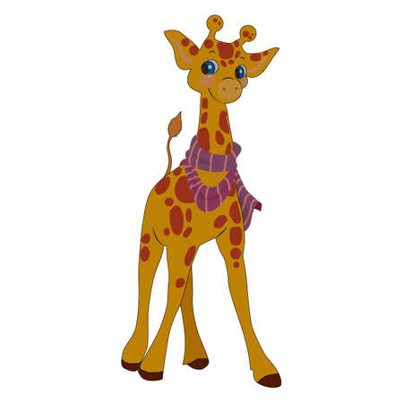 vector illustration, white background isolate, cartoon style giraffe in color
