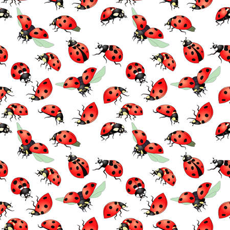 seamless pattern with red beetles, ornament for wallpaper and fabric, wrapping paper, scrapbooking, background for different designs Ilustración de vector