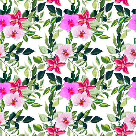 seamless pattern in bright colors with leaves of orchid flowers, ornament for wallpaper and fabric, wrapping paper, scrapbooking, background for different designs