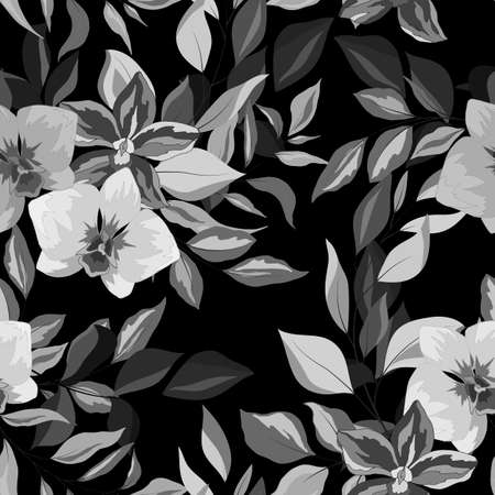 Seamless pattern in gray with orchids and tropical plants, ornament for wallpaper and fabric, wrapping paper