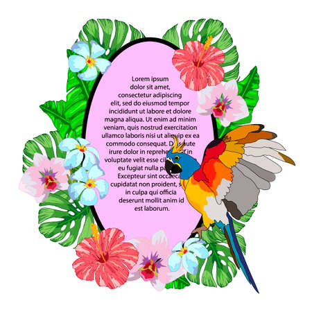 composition with a banner for text with tropical flowers, leaves monster and parrot, vector illustration, isolate