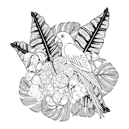 composition of tropical flowers and leaves, with parrot in black and white, vector illustration, isolate