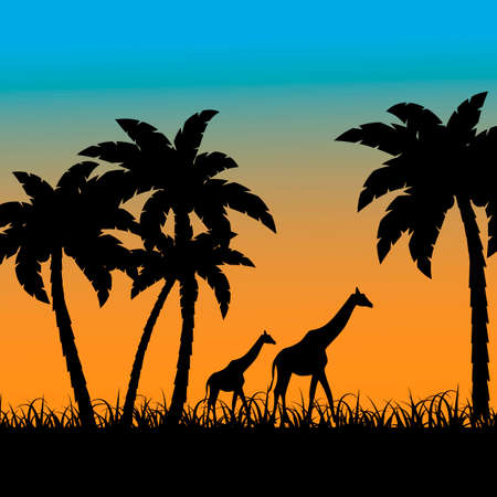 background with a picture of the African landscape with silhouettes of palms and giraffes