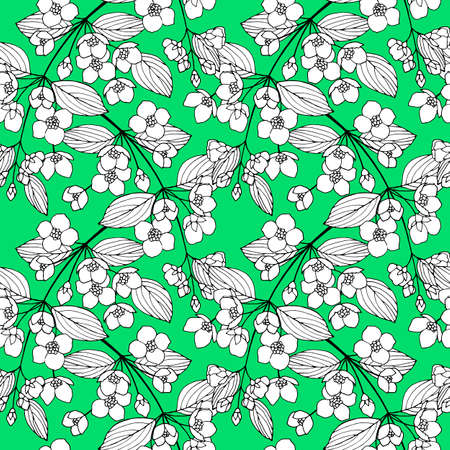 Seamless pattern on a green background with black and white jasmine flowers, ornament for wallpaper and fabric, wrapping paper, background for different designs