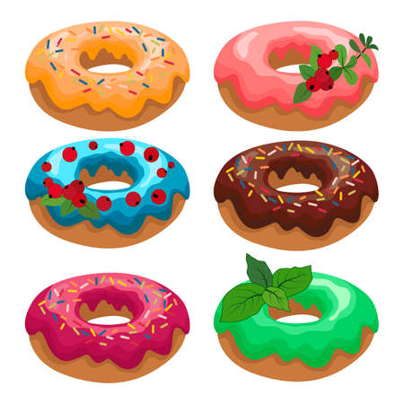 set of donut paintings with a cream, vector illustration, isolate on a white background