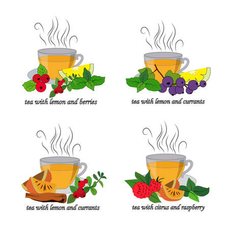 menu card, tea with lemon and berries, vector illustration, isolate on a white background 矢量图像