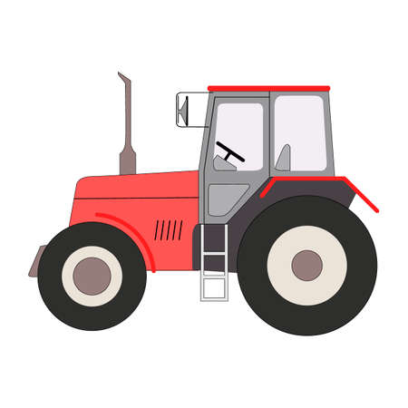 tractor drawing, isolate on a white background, vector illustration