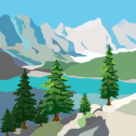 picture of the landscape, mountains, lake and spruce, vector illustration for different design Illusztráció