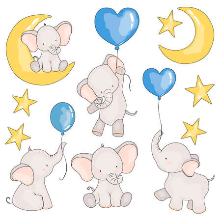 set of pictures of elephants, balloons, and an elephant for months, vector illustration, isolate on a white background