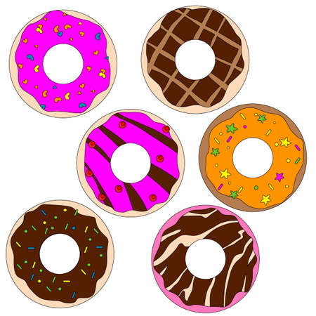 images of sweet donuts in different colors, vector illustration, isolate on a white background Vettoriali
