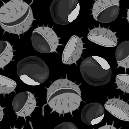 seamless pattern with fruits of chestnut in monochrome colors, ornament for fabric and wallpaper, scrapbooking paper Ilustração