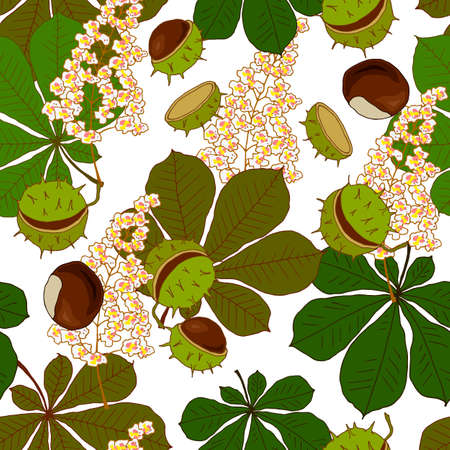 seamless pattern with flowers leaves and fruits of chestnut, ornament for fabric and wallpaper, scrapbooking paper, background for different designs