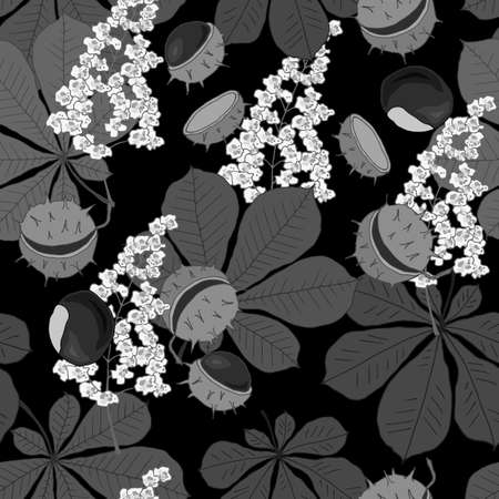 seamless pattern with flowers leaves and fruits of chestnut in monochrome colors, ornament for fabric and wallpaper, scrapbooking paper
