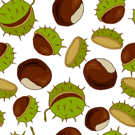 seamless pattern with fruits of chestnut, ornament for fabric and wallpaper, scrapbooking paper, background for different designs