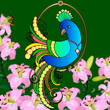 greetings card, peacock in bright colors, background with lilies, for different design