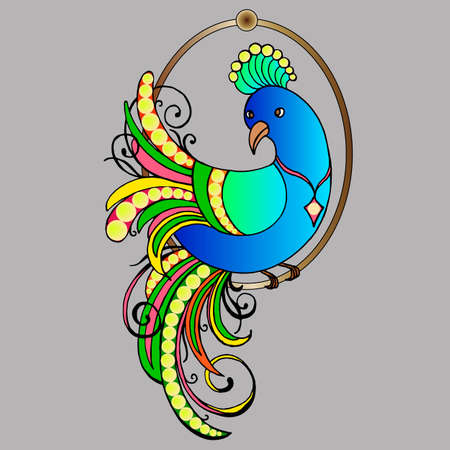 stylized image in bright colors, peacock, vector illustration