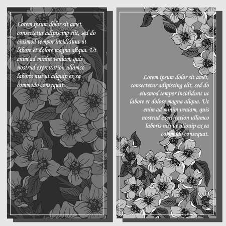 banner for text in monochrome colors with sakura flowers in retro style Stock fotó - 155373764