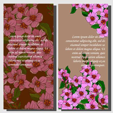 Banner for text with sakura flowers in retro style Illusztráció
