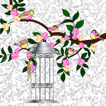 classic background with branch, roses and leaves, birds on tree, cage