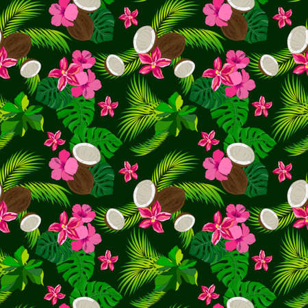 Seamless pattern with tropical plants, orchids, palm leaves and coconuts Stock Photo