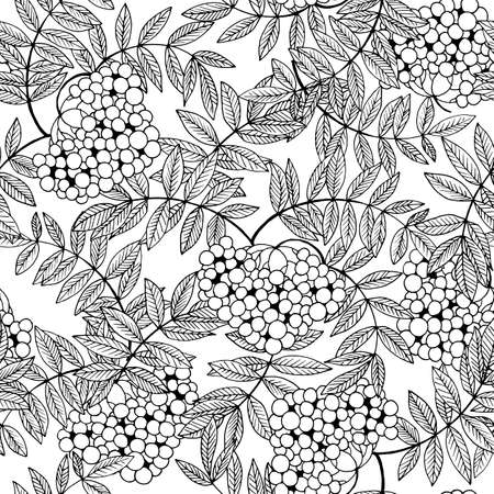 seamless pattern in black and white, image rowan and leaves, coloring Ilustração