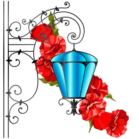 drawing of street lamp in retro style, background with red poppies, vector illustration
