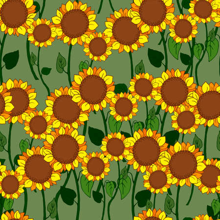 seamless pattern in bright colors with decorative sunflowers