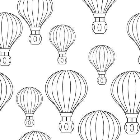 seamless pattern with balloons, monochrome ornament for wallpaper