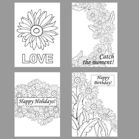 greeting cards, coloring pages, greeting cards with gerbera flowers, daisies 向量圖像